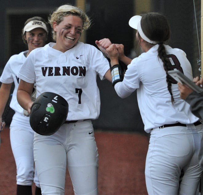 Shay Williams (7) celebrates with teammates after she scored against Argyle on Wednesday, May 12, 2021, in Henrietta.