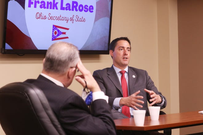 Ohio Secretary of State Frank LaRose gestures as he talks about the 2020 election during a meeting with local leaders in Zanesville on Thursday.