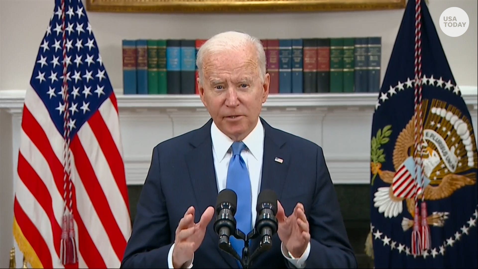 Biden: Colonial Pipeline at full operational capacity, normal fuel supply will take time