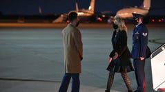 First lady Jill Biden deplanes upon arrival at Andrews Air Force Base in Maryland on April 1, 2021.