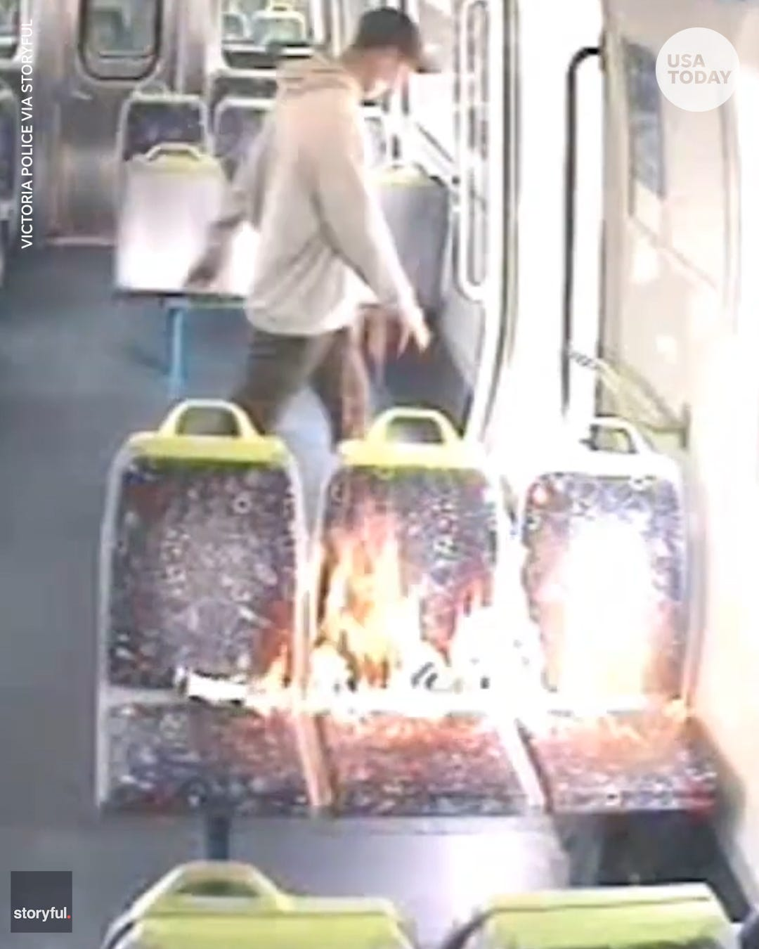 Man pours accelerant onto Melbourne train seat and lit it on fire