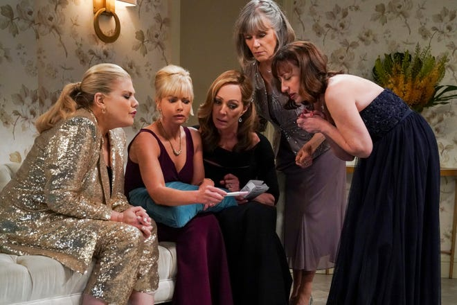 The friends from CBS' 'Mom' - Tammy (Kristen Johnston), left, Jill (Jaime Pressly), Bonnie (Allison Janney), Marjorie (Mimi Kennedy) and Wendy (Beth Hall) - seem to do pretty much everything together, including learning the results of Jill's pregnancy test in the May 6 episode. She's going to have a baby!