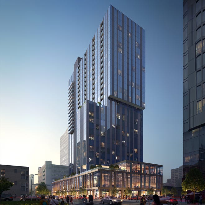 The first residents are expected to move late this summer into a 32-story tower under construction at East Fifth and Brazos streets in downtown Austin. The project will include 331 luxury apartments, with monthly rents averaging $2,636, along with two Hyatt-brand hotels. [Magellan Development Group]