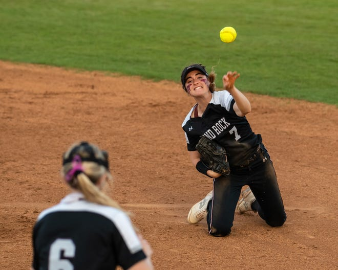 Round Rock's Maddie Woodul throws to first baseman Emma Price after a diving catch against Judson on Thursday.