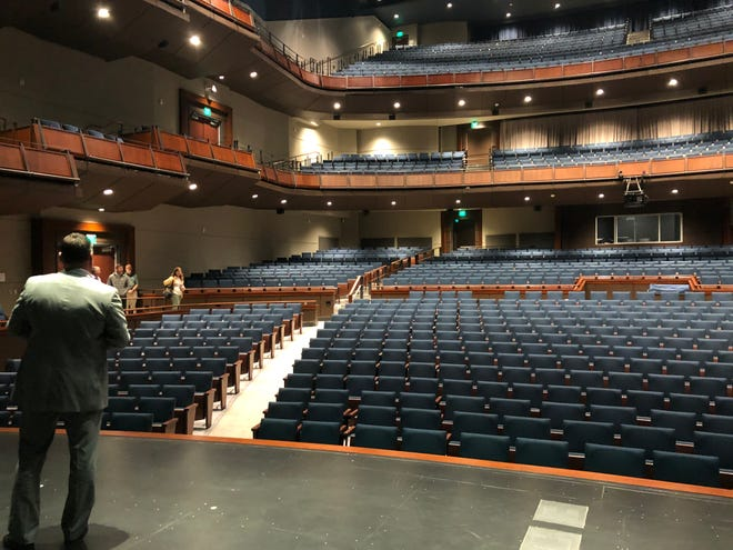 Columbia County Manager Scott Johnson surveys the new Columbia County Performing Arts Center from the stage on Friday. The first performance is this weekend.