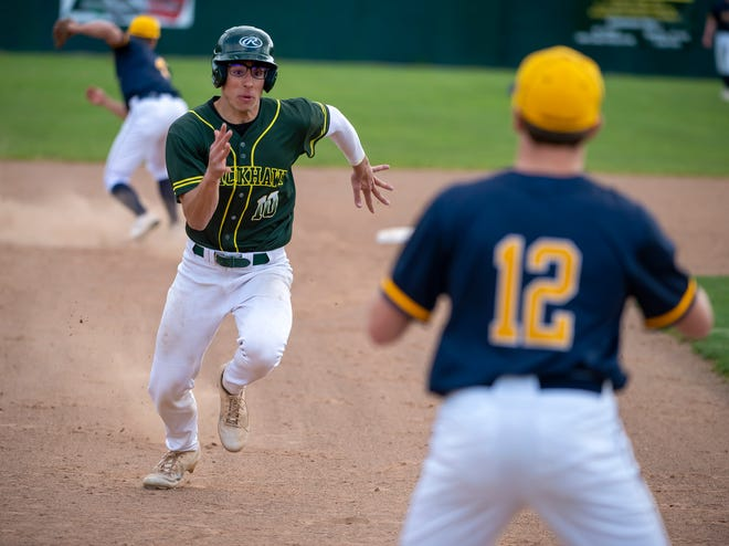 Blackhawk's Jarrod Malagise heads for third as Mars' John Fratto waits for a throw during their game Thursday at Park Field in Chippewa.