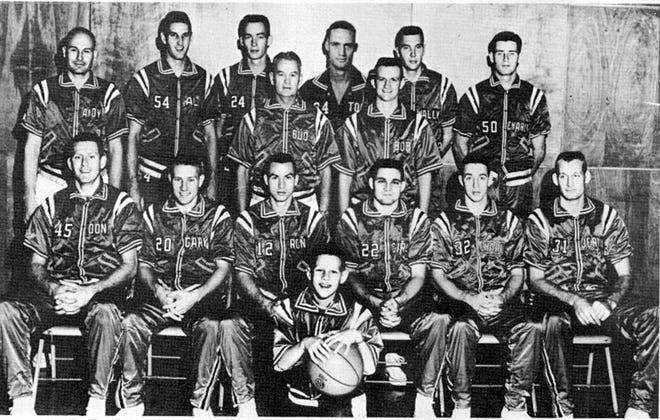Members of the 1961-62 Phillips 66ers basketball team included, from left: Standing — Andy Likens (mgr.), Al Bunge, Jim Hagan, Bud Browning (head coach), Tom Robitaille, Bobby Plump (assistant coach), Wally Frank and Charlie McNeil); and, Sitting — Don Kojis, Gary Thompson, Ron Altenberg, Carl Cole, Charlie Bowerman and Jerry Shipp. This team won the AAU National championship.