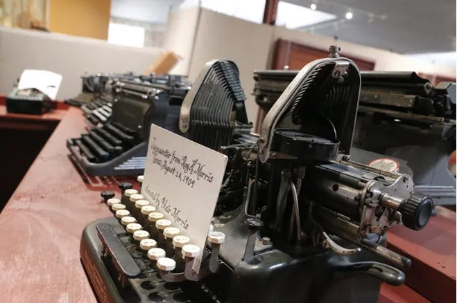 This collection of old manual typewriters are part of the Banks and Business exhibit at the Brown County Museum of History.