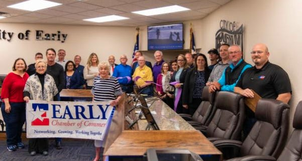 A ribbon cutting was held for the City of Early on Tuesday for the grand reopening of their Council Chambers and Municipal Court. They have been closed since the being of Covid. The City used this time to do upgrades to the Council Chambers and Municipal Court with new technology and furnishing.
