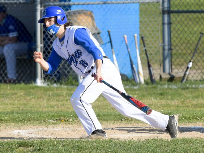 Nate Ware of Mashpee hits a two-run single for an 8-2 lead against Upper Cape on Friday.