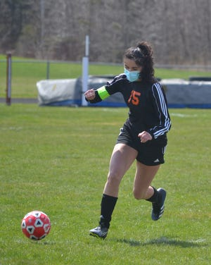 Senior striker Kayla Burt netted a hat trick in a 5-0 Cheboygan victory at Ogemaw Heights in a  Northern Michigan Soccer League north division girls soccer clash on Thursday.