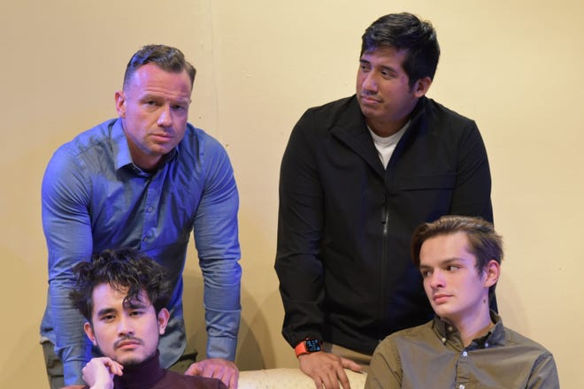 """Left to right, standing: James Harper and Ben Hartwig, and seated: Monty Almoro and Jarrod Turnbull in Evolution Theatre Company's production of the play """"From White Plains."""""""