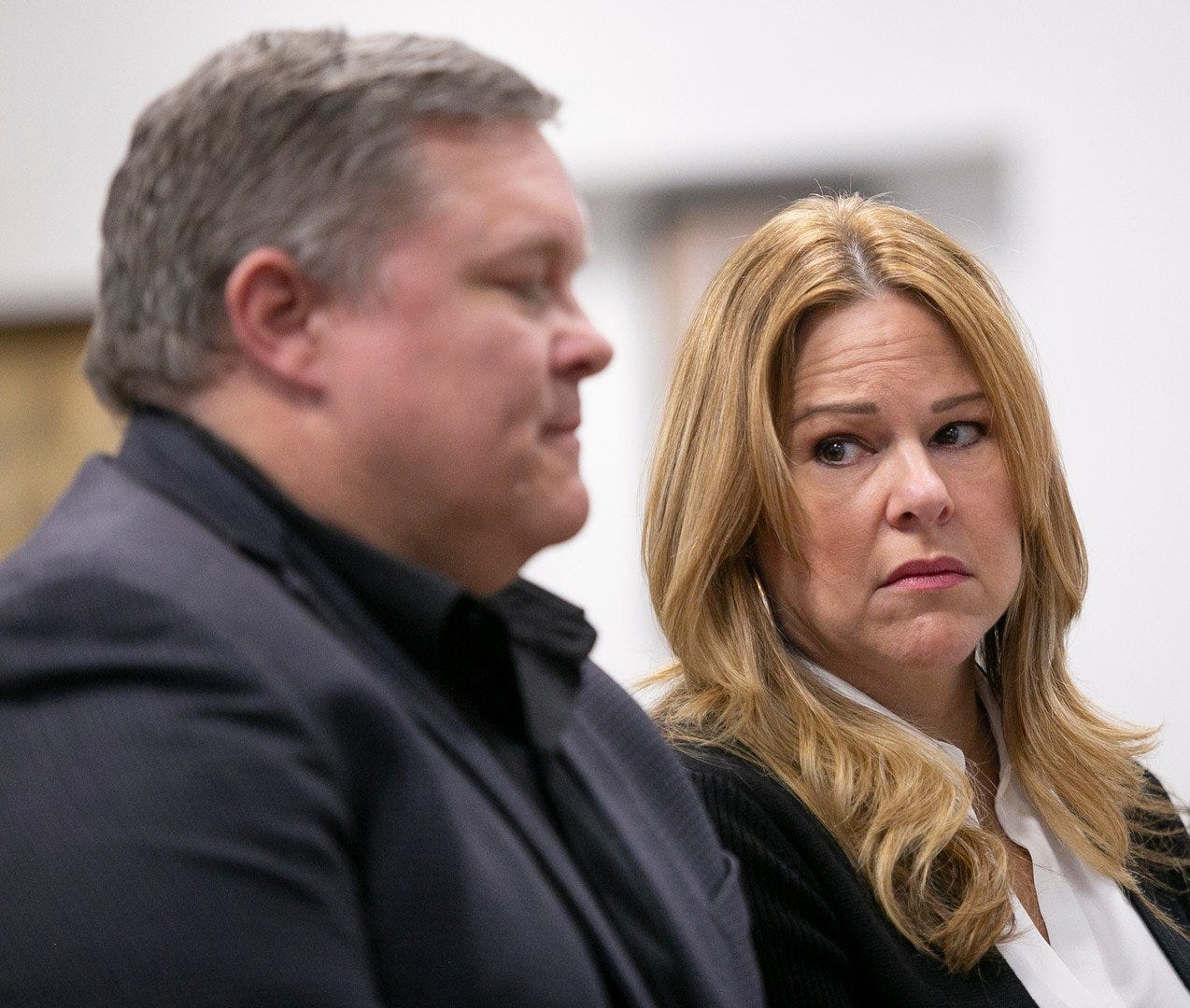 Wade and Kathleen Wiant make a statement to Judge George P. McCarthy after a guilty plea from former Ohio University student and Sigma Pi Fraternity member, Cullen McLaughlin,   at the Athens County Court of Common Pleas in Athens, Ohio on Thursday, Feb. 27, 2020.