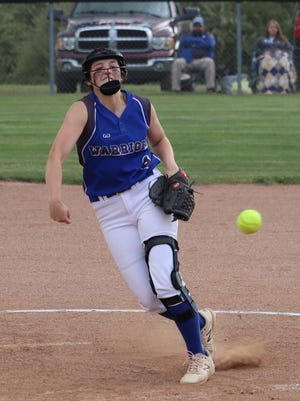 Buckeye Trail senior Sidney Beaver delivers a pitch during Thursday's Division III sectional championship game with Harrison Central in Cadiz.