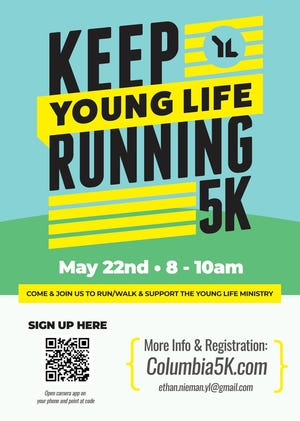 """Columbia Young Life will host """"Keep Young Life Running"""" 5K on Saturday, May 22 starting at 8 a.m. in the Columbia Arts District."""