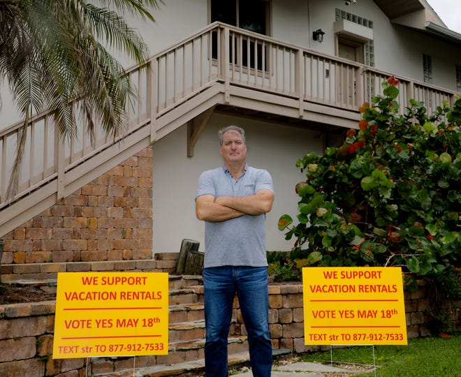 RIchard Feller, president of the Vacation Rental Home Alliance of Volusia County, poses outside a home owned by his family next to signs in support of a change in the county's short-term rental policy. The Volusia County Council is scheduled Tuesday to consider legalizing the rental of homes for fewer than 30 days.