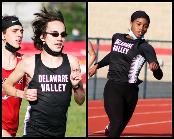 Delaware Valley seniors Adam Kanterman (left) and Taliyah Booker (right) have been setting the pace on the track all season. The Warriors are poised to contend in many events at the PIAA District 2 Class AAA meet on May 18.