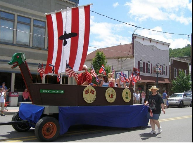 PARADES APPROVED - Hawley Borough received approval from PennDOT to resume parades on state roads (Main Avenue) this year. The Memorial Day Weekend Parade is being planned for Sunday, May 30 at 1 p.m. This Viking ship float from The Sons of Norway (Bernt Balchen Lodge #3-566) has been a popular attraction in Hawley's 4th of July parade for years. / Photo by Peter Becker