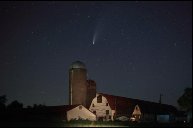 The winner of the Landscape category in the Delaware Highlands Conservancy's 2020 Photo Contest, by Jeffrey Sidle. The picture shows Comet Neowise, which was prominent in the evening sky in July of that year after being visible before dawn.