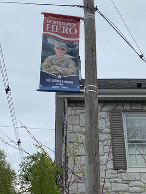 A Hometown Hero banner for Parker J. Brown, currently serving in the U.S. Army, can be found along East Baltimore Street in Greencastle.