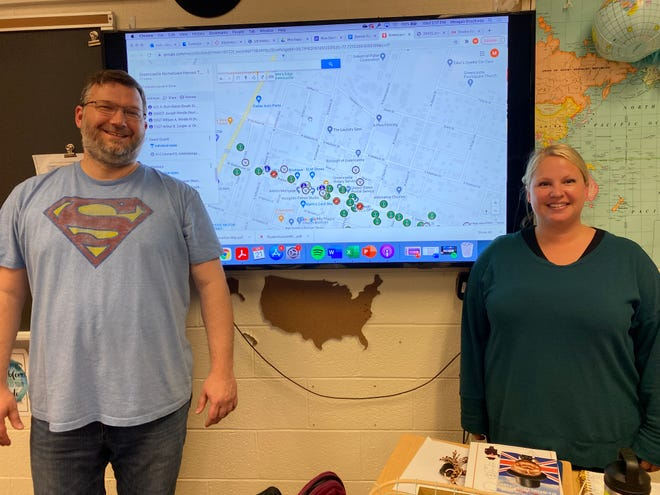 Greencastle-Antrim High School social studies teachers James Thomas and Meagan Brockway are advisers for the Blue Devil Scholars as the students work to provide information on the Hometown Hero banners via Google Maps.