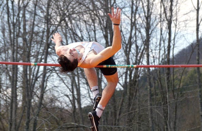 Tyler Brado competes in the high jump for SUNY-Cobleskill at the May 8 Bronco Weekend Classic. Brado won the event with a jump of 6 feet-7 inches.