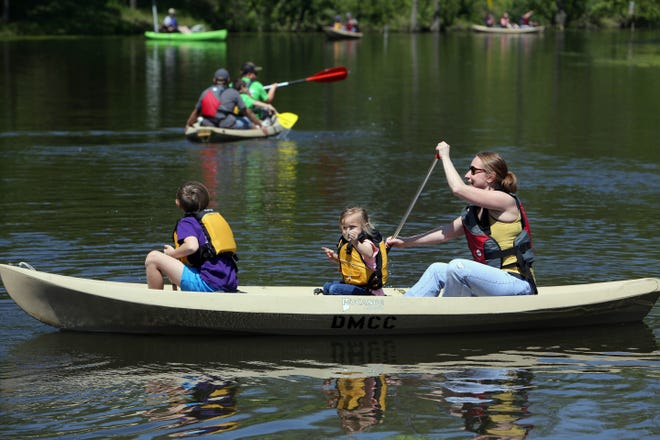 """Kayakers during the annual Des Moines County Outdoor Youth Jamboree May 13, 2017, at the Big Hollow Recreation Area in Sperry. This year's annual Outdoor Youth Jamboree at Big Hollow Recreation Area is sidelined by COVID-19, conservation director Chris Lee told county supervisors and department heads the event will be replaced with an open house including a scavenger hunt May 15 as well as a new """"Fill the Lake Flotilla,"""" which Lee said is similar to a flotilla in the Quad Cities area."""