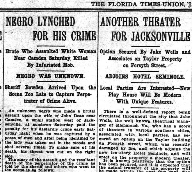 """The Florida Times-Union described the lynching of an unknown Black man in a May 10, 1909 article that said a crowd had been angered by the man committing an """"outrageous crime"""" against a white woman."""