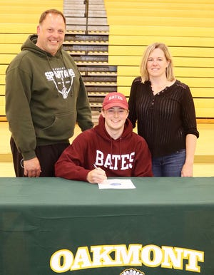 Oakmont Regional senior Colton Bosselait, pictured with his parents Todd and Carey Bosselait, will continue his education and his athletic career at Bates College in Lewiston, Maine next fall.