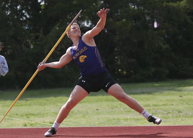 WaKeeney-Trego's Owen Day unleashes a javelin throw of 177 feet, 3 inches on Thursday at the Mid-Continent League meet in Hill City.