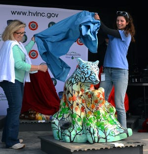 A bear named Blueberry Jam was among 20 fiberglass bears painted by local artists for this year's Bearfooin' Art Walk fundraiser.