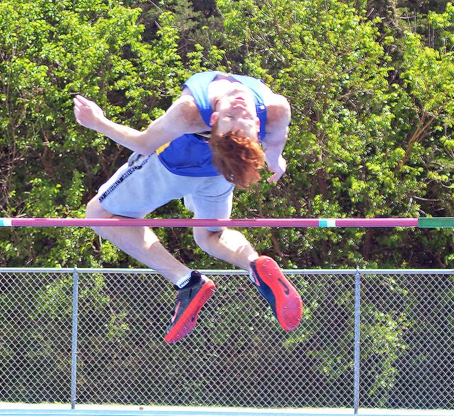Brayden Miller of Hutchinson competes in the high jump Thursday at the Central Kansas League Championships. Miller won the event at 6-4.