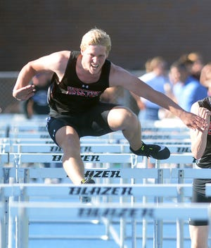 Nicholas Arnold of Hesston won the 110-meter high hurdles Thursday at the CKL championships. Hesston won the team title. The Swathers compete next week at the Class 3A regionals in Holcomb.