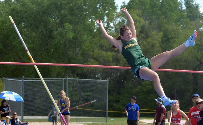 Jadyn Thompson of Pratt competes in the pole vault during the Central Kansas League meet in Halstead. Thompson finished sixth in the event.