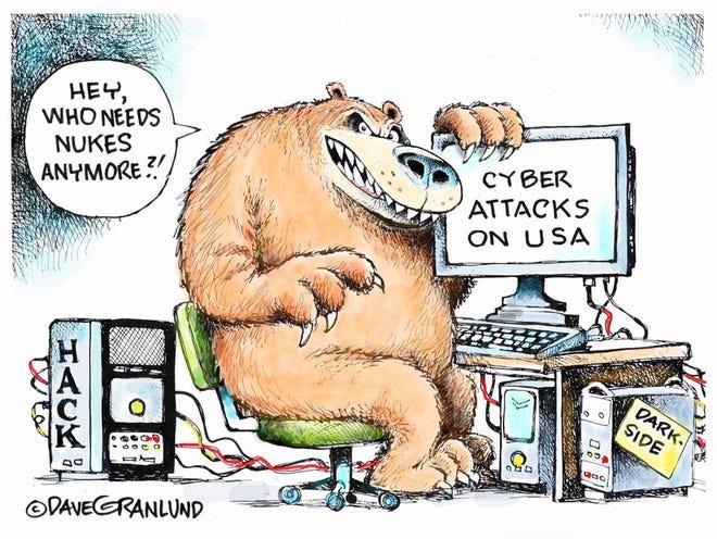 Dave Granlund cartoon on cyberattacks