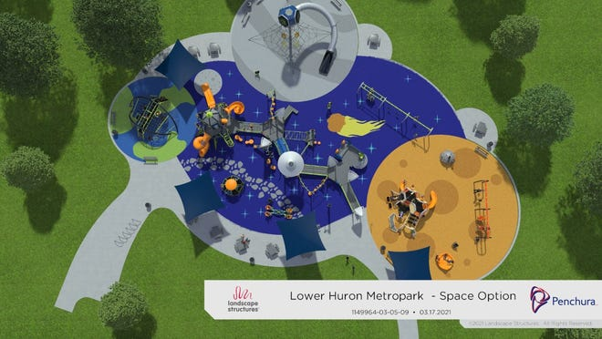 A rendering of the Huron-Clinton Metroparks' plan to develop a unique new space-themed playground at Lower Huron Metropark shows some of the key areas that will make up the play space. Construction is expected to begin this summer and wrap up with a grand opening by the end of the year.