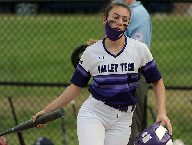 Blackstone Valley Tech senior Abby Behrikis against Assabet Valley Regional High School on May 14, 2021.