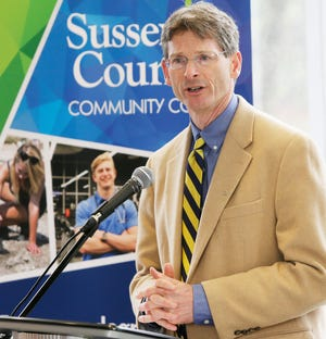 Sussex County Community College President Jon Connolly welcomes the audience to Community College Day, Friday, April 19, 2019.