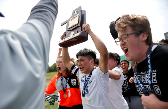 Mount Saint Mary's Eric Jaquez celebrates the boys 3A state championship soccer game over Crooked Oak at Taft Stadium in Oklahoma City, Friday, May 14, 2021.