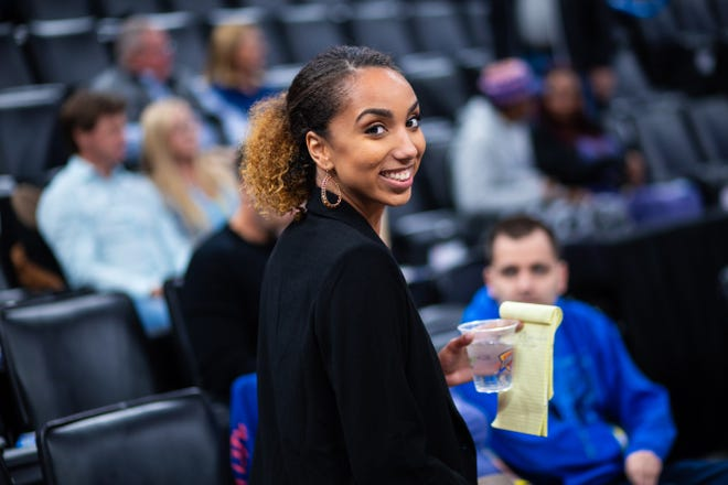 Paris Lawson, seen during the early months of the 2019-20 season, joined the Thunder as a digital content reporter, but her talent impressed so many people within the organization that now the 23-year-old is part of the Thunder's on-air, in-game broadcast team.