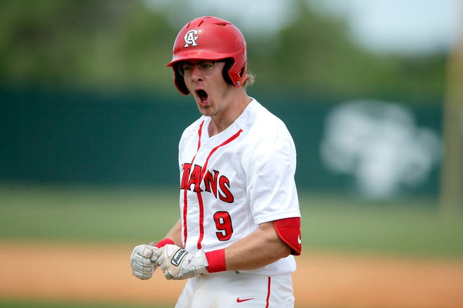 Carl Albert's Lake Strickland celebrates after a hit during a Class 5A baseball state tournament semifinal game between Pryor and Carl Albert at Edmond Santa Fe School, Friday, May 14, 2021.