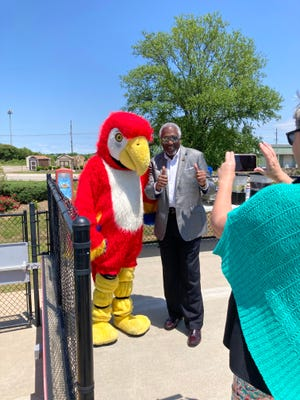 Fort Smith Mayor George McGill poses for a photo at Parrot Island during their Media Luncheon on May 13. Parrot Island will be opening on May 15 for the summer season with a new attraction coming in July.