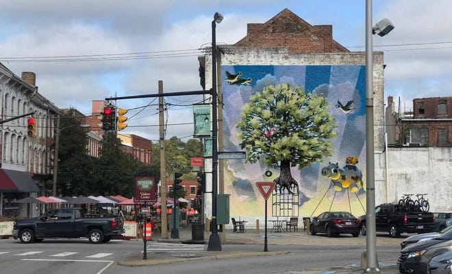 Artist Matt Lively mural rendering for Old Towne's Alibi restaurant in Petersburg, Va. This happy-go-lucky imagery may be different by the time Lively finishes.