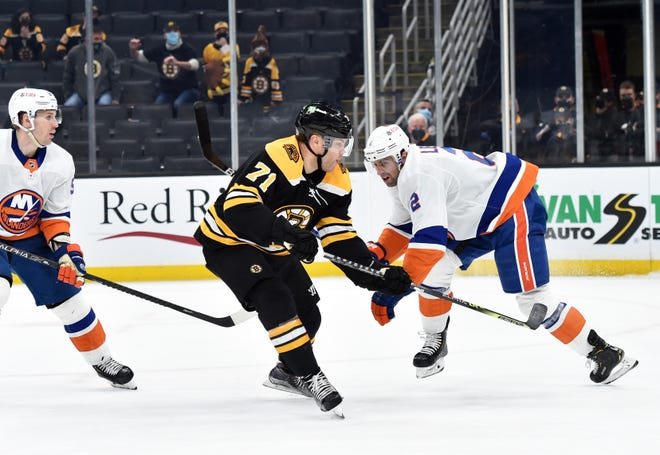 Bruins left wing Taylor Hall (71) scores the winning goal in overtime against the New York Islanders on May 10. He will need to continue to produce against the Washington Capitals if Boston is to advance in the Stanley Cup playoffs.