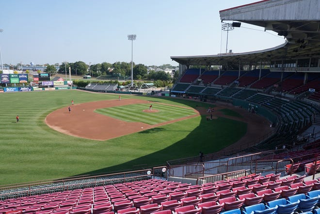 McCoy stadium stands vacant after the last practice of the PawSox on its field in September 2020. The team has relocated to Worcester, and plays in the newly-built Polar Park in that Central Massachusetts city.