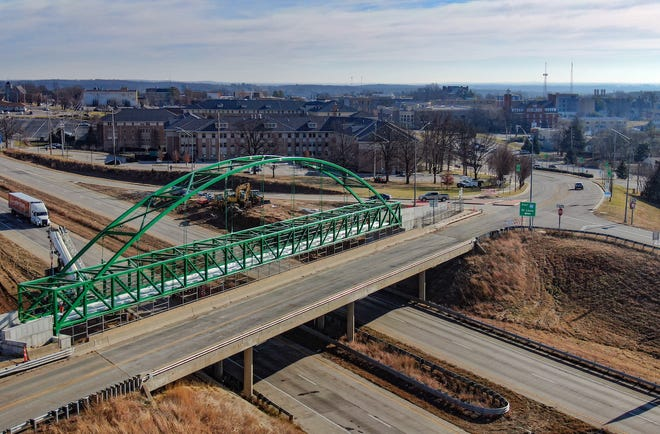 Infrastructure projects like this pedestrian bridge over Interstate 44 and University Drive in Rolla, Missouri, could help address community concerns with new infrastructure. Photo by Terry Barner/Missouri S&T