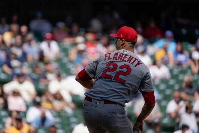 St. Louis Cardinals starting pitcher Jack Flaherty throws during the fifth inning of a baseball game against the Milwaukee Brewers Thursday, May 13, 2021, in Milwaukee. (AP Photo/Morry Gash)