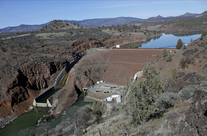 The Iron Gate Dam, powerhouse and spillway are on the lower Klamath River near Hornbrook, Calif.