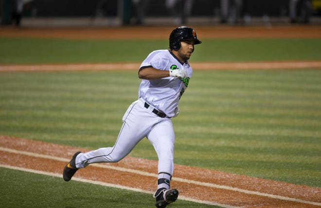 Eugene's Franklin Labour runs the bases after a hit against the Hillsboro Hops in a May 13 game at PK Park.