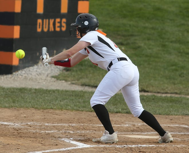 Marlington's Chyanne Knapp lays down a bunt in the second inning against Lakeview at Marlington.